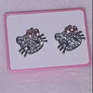 Pink Kitty Earrings Silver Rhinestone